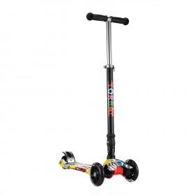 Klappbar Kinder Scooter Roller mit LED Rollen(Graffiti Schwarz)