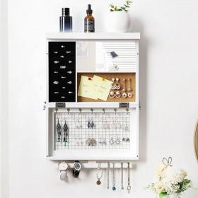 Wand Schmuckhalter Schmuckständer aus Holz, Schmuck Organizer mit Spiegel und Armband Ketten Stange