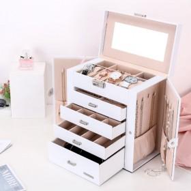 Seelux Schmuckkästchen groß mit Spiegel und Handgriff, Schmuckkoffer aus Kunstleder für Uhren, Ringe, Uhrringe, Halskette