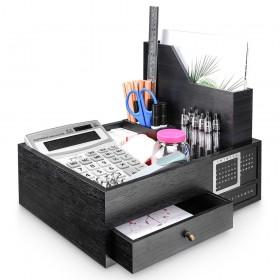 Schreibtischorganizer mit ewigem Kalender, Stiftehalter, Schublade und Aufbewahrungsbox, multifunktionale Schreibtisch-Box für Büro, Zuhause