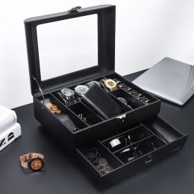 Uhrenbox Herren mit 2 Ebenen, abschließbar Schmuckkästchen Uhrenkoffer für Uhrenaufbewahrungsbox, Kunstleder, schwarz