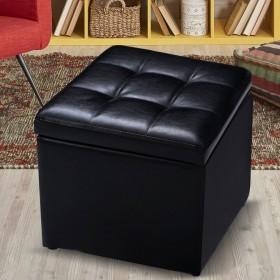 Sitzhocker mit Stauraum Sitzwürfel Sitzbox Sitzbank Ottomane Polsterhocker PU-Leder 40 x 40 x 40 cm