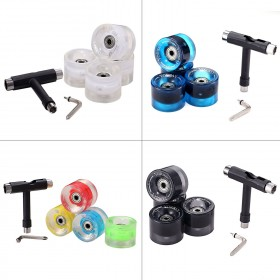 4x Skateboard Rollen 60x45mm + 8x ABEC 11 Kugellager + 8x Metall Spacer + T-Tool