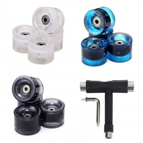 70x51mm 4x Skateboard/ Longboard Rollen + 8x ABEC 11 Kugellager + 8x Metall Spacer + T-Tool