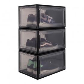 3er Set Schuhbox, schwarz L, Drop-Front-Boxen aus Kunststoff für Sneaker Aufbewahrung, stapelbarer Aufbewahrungsboxen