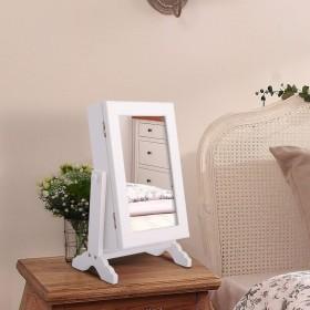 Schmuckschrank Schmuckkasten mit Spiegel (Weiß)