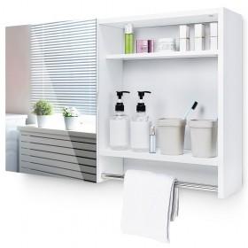 Spiegelschrank mit verstellbaren Einlegeboden und offenen Regal, Holz Weiß, 77x17x50cm