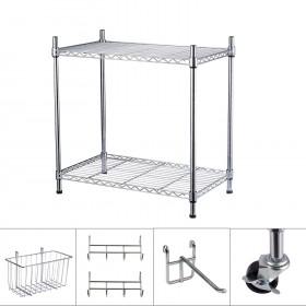 60 x 35 x 60cm Standregal Set, Küchenregal Metallregal aus Verchromten Metall Ø19mm