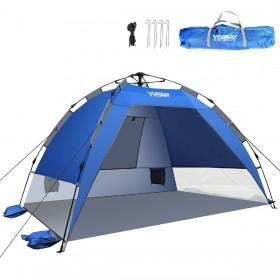 Strandmuschel 50+ UV-Schutz, Strandzelt für 2-3 Personnen, kleines Packmaß mit Tragetasche