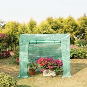 1,6 ㎡ Gewächshaus Foliengewächshaus Tomatenhaus mit Gitternetzfolie und Fernster, 200 x 80 x 173/143cm (LxBxH)
