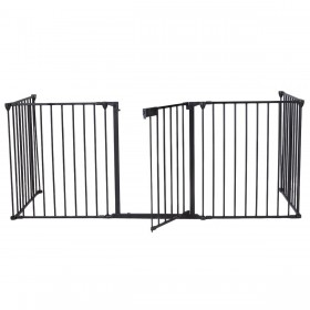 75x300cm Türschutzgitter für Kinder-Sicherung faltbar Metall 5 Elemente inkl. Tür