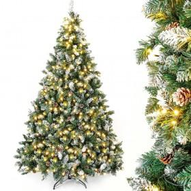 künstlicher Weihnachtsbaum mit Beleuchtung, LED Tannenbaum mit Schnee und Kiefernzapfen,weiß 150cm 180cm 210cm