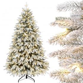 Künstlicher Weihnachtsbaum mit Schnee und warmweißen LED-Leuchten, 150 cm / 180 cm / 210 cm