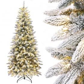 künstlicher Weihnachtsbaum schmal mit Beleuchtung und Schnee, beleuchteter Bleistiftbaum, 180cm / 210cm