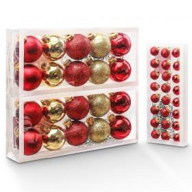 44er Set Weihnachtskugeln aus Glas, Christbaumschmuck Glaskugeln Gold und Rot, Weiß und Silber