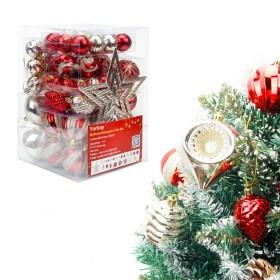 77er Weihnachtskugeln Set aus Kunststoff in Rot und Hellgold, Weihnachtsbaumschmuck Set mit Baumspitze und Aufhänger