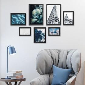 Bilderrahmen Collage Fotowand selber machen, Fotorahmen aus Holz, schwarz, 4 Größe