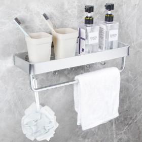 Yorbay Handtuchhalter mit Ablage und Haken, Handtuchstange ohne Bohren, Handtuchstange aus Aluminium für Badezimmer
