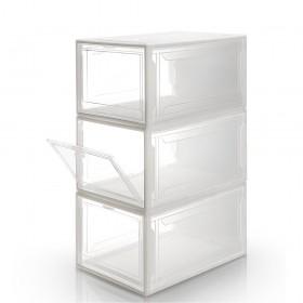 Yorbay Schuhbox aus Kunststoff 3er Set mit Frontklappe, stapelbarer Schuhorganizer, transparente Aufbewahrungsboxen