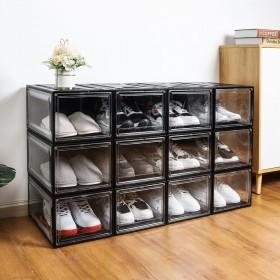 12er Set super transparent Schuhbox, stapelbarer Schuhorganizer, Kunststoffbox für Schuhe bis Größe 48