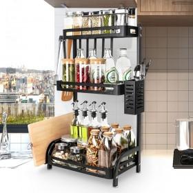 Gewürzregal mit 3 Etagen, Küchenregal aus Edelstahl,  mit Messerhalter, Besteckhalter, Schneiderbretthalter für Küche, Arbeitszimmer, Badezimmer, Wohnzimmer