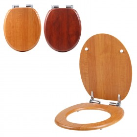 WC Sitz Toilettensitz Absenkautomatik Toilettendeckel - Holzfarbe