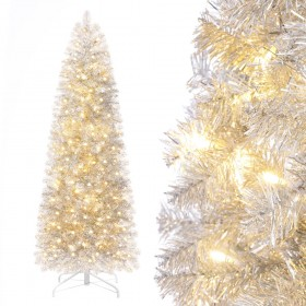 künstlicher Weihnachtsbaum schmal, Bleistiftbaum mit Beleuchtung, 180cm