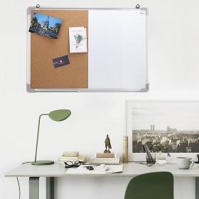 50 x 70 cm Kombitafel, Halb Magnetisches Whiteboard, Halb Kork-Pinnwand