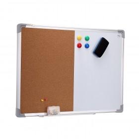 40 x 60 cm Kombitafel, Halb Magnetisches Whiteboard, Halb Kork-Pinnwand