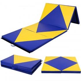 Weichbodenmatte Klappbar 300 x 120 x 5 cm, Turnmatte Gymnastikmatte Yogamatte Fitnessmatte (Blau und Geld)