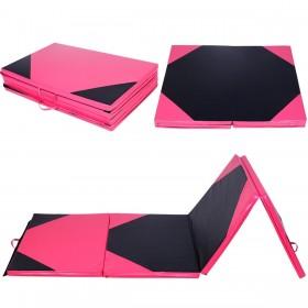 Weichbodenmatte Klappbar 300 x 120 x 5 cm, Turnmatte Gymnastikmatte Yogamatte Fitnessmatte (Pink und Schwarz)