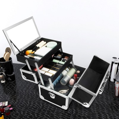 Seelux Kosmetikkoffer mit Spiegel und Tragegurt, Friseurkoffer schwarz abschließbar für Nageldesign