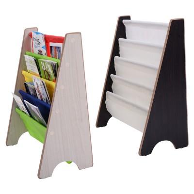 Kinder-Bücherregal Hängefächerregal Büchergestell Zeitungsständer mit 4 Ablagefächern (Kaffee / Natur)