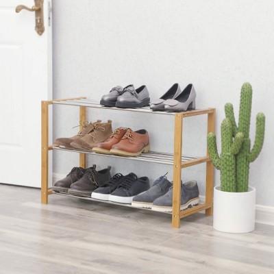 Schuhschrank aus Bambus mit 3 Ebenen, Schuhablage für 12 Paar Schuhe