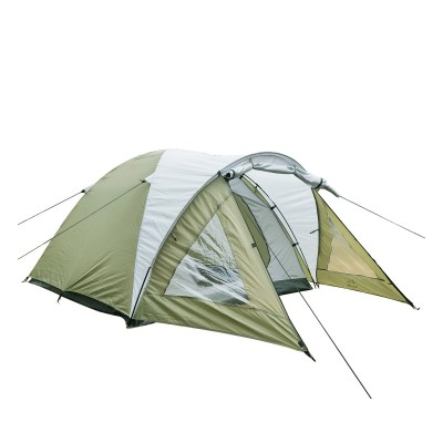 Campingzelt mit Vorraum für 4 Personen in grau, Kuppelzelt in grün mit Tragtasche