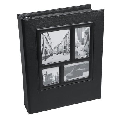 Fotoalbum zum Selbstgestalten, DIY Leder Scrapbook mit Schwarze Seiten zum Einkleben(23x28cm Fotobuch)