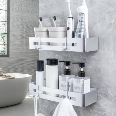 Yorbay Duschkorb 2er Set, Duschregal Ohne Bohren, Duschablage aus Aluminium mit Haken für Badezimmer und Küche