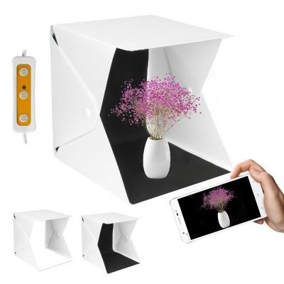 Yorbay beleuchtetes Mini-Fotostudio, 22x23x24cm Lichtzelt mit LED Beleuchtung und 2 Hintergrundpapier für Fotografie
