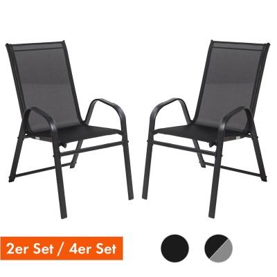 Gartenstuhl mit stabiler Stahlrahmen in schwarz und grau, Stapelstühle Set mit Armlehnen