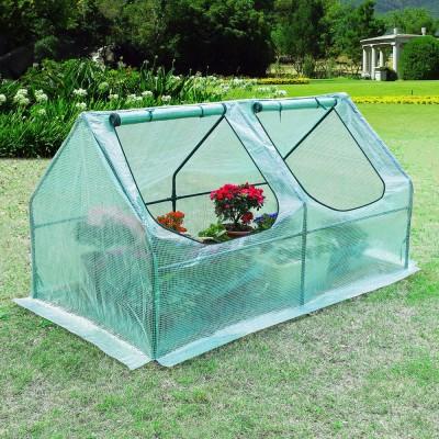 Gewächshaus mit UV-beständige Gitternetzfolie und Fernster, Foliengewächshaus für Tomaten Gemüse Pflanzen