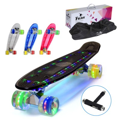 "22"" LED Skateboard Pennyboard Mini Cruiser Komplett Fertig Montiert mit Tasche und T-Tool (Deck LED / LED Räder in 4 Farben)"