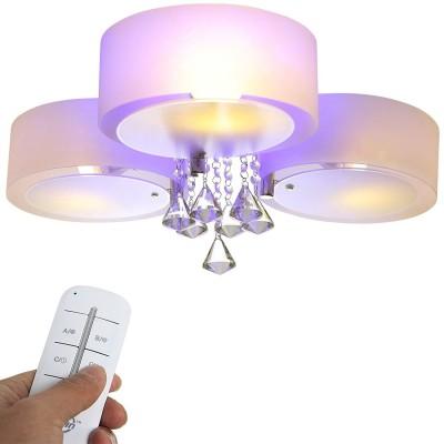 3 Fl. - LED Kristall Deckenleuchte E27 Deckenlampe Wandlampe