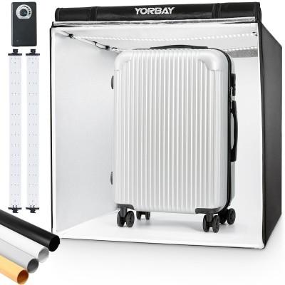 Fotobox 80x80x80cm mit dimmbarer LED Beleuchtung, CRI 95, Fotostudio mit 4 Farbhintergründen