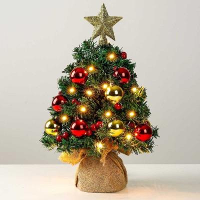Mini LED Weihnachtsbaum mit Beleuchtung Baumschmuck Weihnachtskugeln, 40 cm klein künstlicher Tannenbaum mit 8 Beleuchtungsmodi