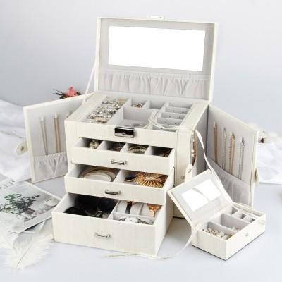 Schmuckkästchen aus PU Leder mit 3 Schubladen und Mini-Box, abschließbar mit Spiegel