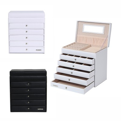 Schmuckkästchen Schmuckkoffer mit 5 Schubladen Schwarz & Weiß