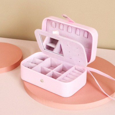 tragbar Schmuckkästchen für Reise, kleine Schmuckbox aus PU-Leder mit Spiegel für Ringe, Ohrringe, Halsketten
