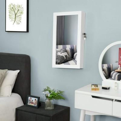 Hängend Schmuckschrank Wandspiegel zum Hängen mit Tür und Magnetverschluss