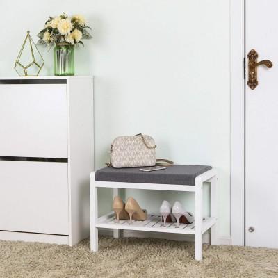 Bambus Schuhschrank mit Sitzkissen,Schuhregal Schuhbank mit 2 Ablagen(weiß-grau)