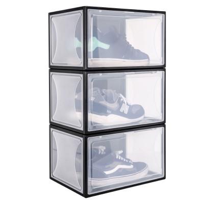 Yorbay Schuhbox aus Kunststoff 3er Set, transparente Drop front shoe boxen  für Sneaker Sammlung, stapelbarer Schuhorganizer